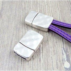 Fermoir rectangulaire magnetique argent pour cuir 13mm