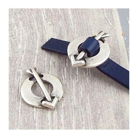Passe cuir rond et flèche argent pour cuir plat 10mm