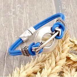Kit bracelet cuir bleu vif flèche argent