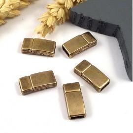 5 Fermoirs magnétiques bronze pour cuir 5mm