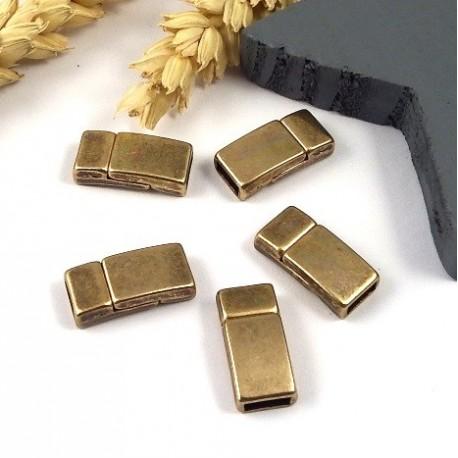 10 Fermoirs magnetiques bronze pour cuir 5mm