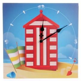 Horloge cabine de plage rouge