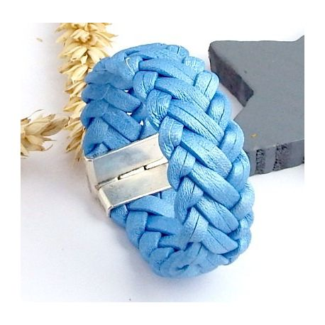 Bracelet cuir tresse bleu metal 6 brins
