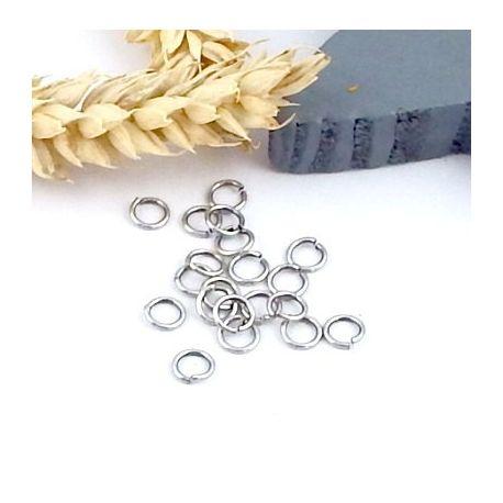 20 anneaux ouverts ronds doré 5mm