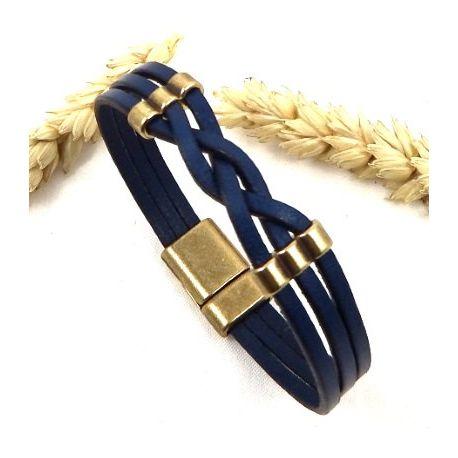 Kit tutoriel bracelet cuir tresse bleu et bronze