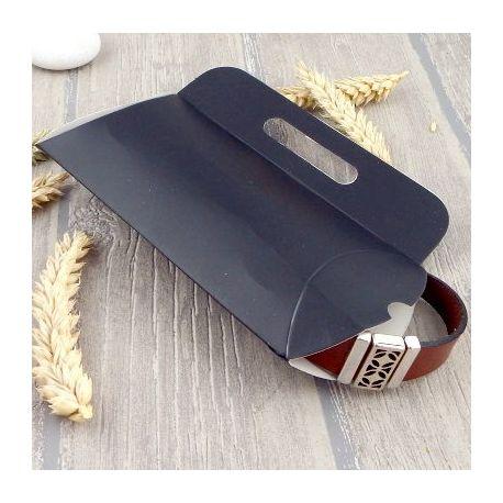 2 Pochettes berlingot carton noire mat avec anse 14x8cm
