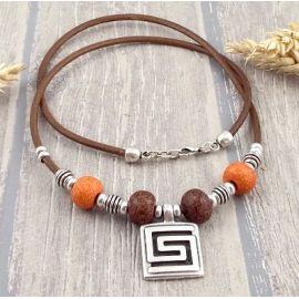 Kit collier cuir marron céramique et spirale argent