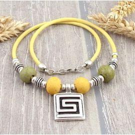 Kit collier cuir jaune top tendance céramique et spirale argent