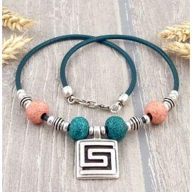 Kit collier cuir bleu top tendance céramique et spirale argent
