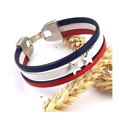Kit bracelet cuir bleu blanc champion du monde football