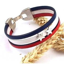 Bracelet cuir bleu blanc champion du monde football