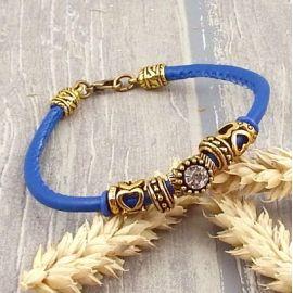 Kit bracelet cuir Pu bleu vif couture avec tutoriel offert