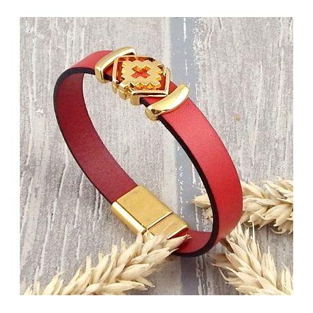 Kit bracelet cuir rouge et or boho chic