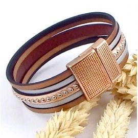Kit tutoriel bracelet cuir or rose et argent billes argent