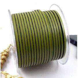 Cuir plat 3mm vert anis