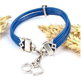 Kit bracelet cuir 5 cordons bleu avec breloques argent