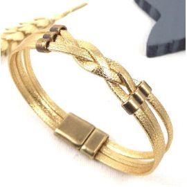 Tutoriel bracelet cuir tresse or avec perles bronze avec tutoriel