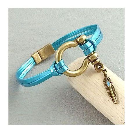 Kit tutoriel bracelet cuir turquoise métal manille bronze