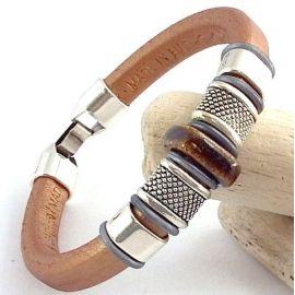 Kit bracelet cuir regaliz cuivré marron argentl