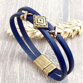 Kit bracelet cuir boho bleu marine et bronze