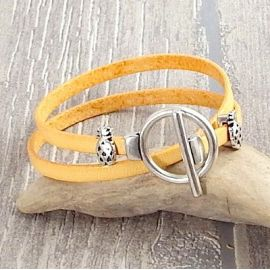 Kit bracelet orange pastel perles ananas fermoir toogle argent