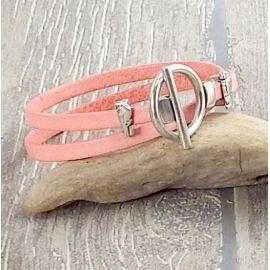 Kit bracelet saumon pastel perles oiseau fermoir toogle argent