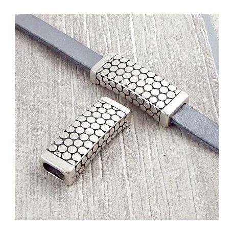 Passant rectangle gravé argent pour cuir 10mm