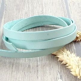 Cuir plat 5mm turquoise pastel