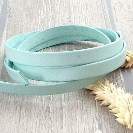Cuir plat 10mm turquoise pastel en gros