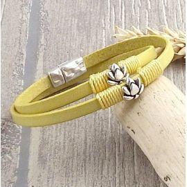 Kit bracelet cuir jaune pastel lotus argent