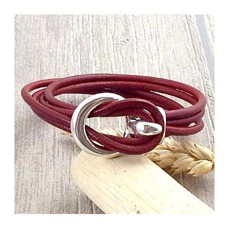 Kit tutoriel bracelet cuir bordeaux crochet argent