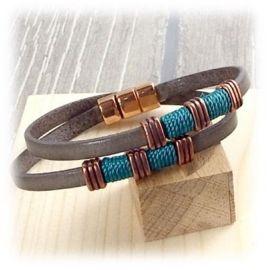 Kit tutoriel bracelet cuir boho gris turquoise et cuivre