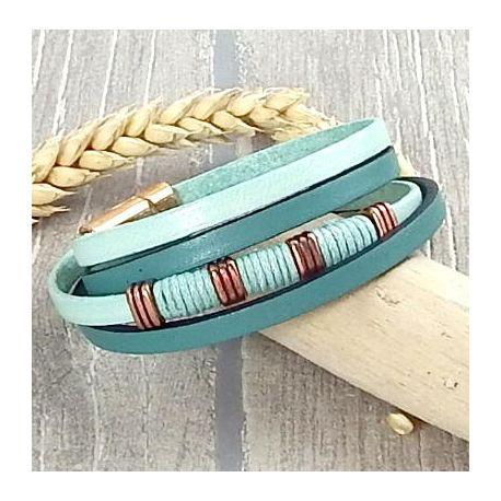 Kit bracelet cuir vert ocean et metal cuivré avec son tutoriel