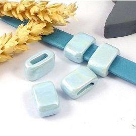 Passe cuir ceramique artisanale bleu pour cuir plat 10mm