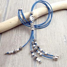 Kit collier cuir bleu boho style perles argent
