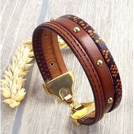 Kit bracelet cuir marron clous or rock bohème