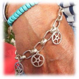Kit bracelet chaine grands maillons et engrenages plaque argent