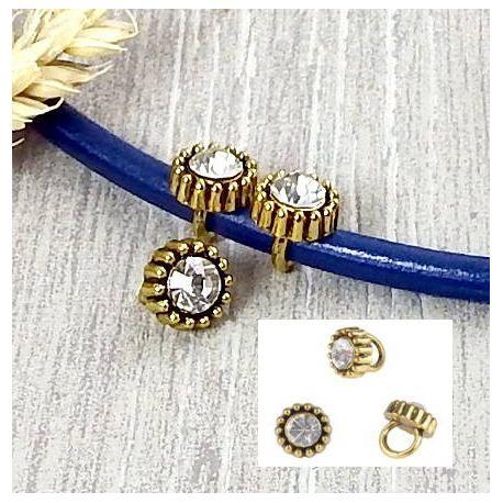2 perles rondes antiques avec strass vieil or pour cuir rond 5mm