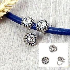 2 perles rondes antiques metal argente avec strass pour cuir rond 5mm