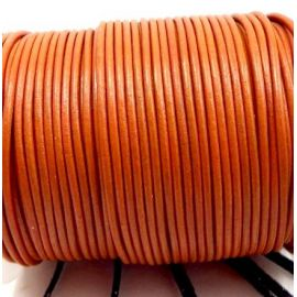 Cordon cuir rond 2mm orange citrouille par 50cm