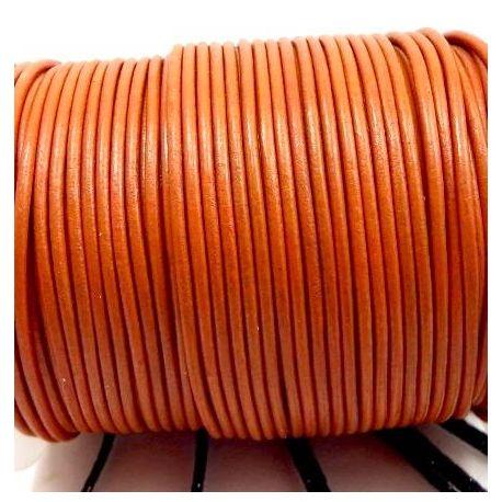 Cordon cuir rond 2mm orange citrouille par 50cm