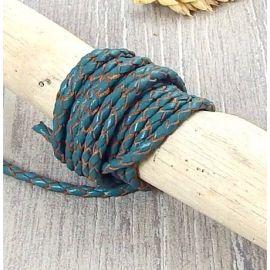 Cordon cuir rond tresse bleu vert 3MM par 20cm