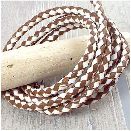 Cordon cuir rond tresse marron et blanc 6MM par 20cm