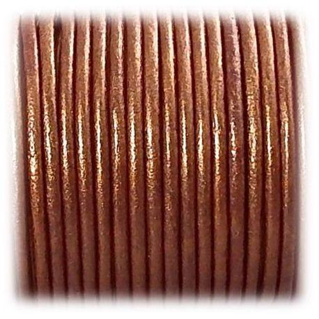 Cordon cuir rond 3mm couleur cuivre metal