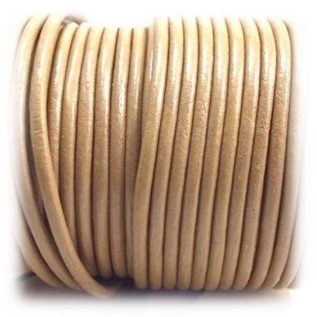 Cordon cuir rond 3mm couleur pierre