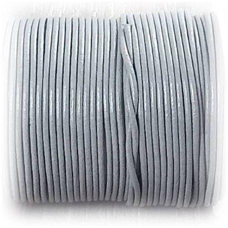 Cordon cuir rond 2mm gris clair