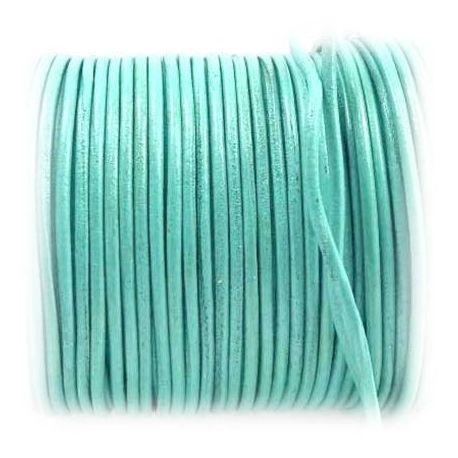 Cordon cuir rond 2mm vert menthe vintage par 50cm