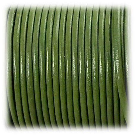Cordon cuir rond 2mm vert olive par 50cm