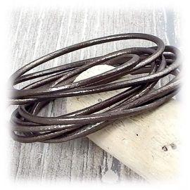 Cordon cuir rond 2mm bronze métal