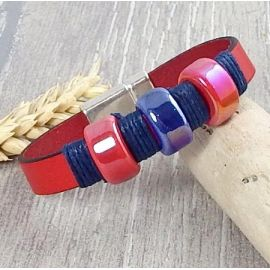 Kit bracelet cuir rouge avec céamique rouge et bleue